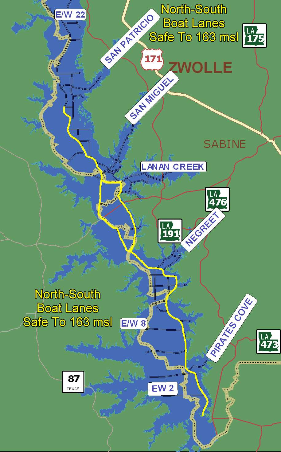 Toledo Bend Map Map of Toledo Bend Boat Lanes – Toledo Bend Lake